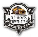 Koolart OLD BEEMERS NEVER DIE Motif For Retro BMW E36 3series Cabriolet External Vinyl Car Sticker Decal Badge 100x100mm